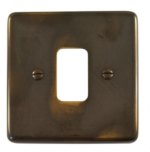 G&H CAN91 Standard Plate Polished Aged Brass 1 Gang MK Compatible Grid Plate